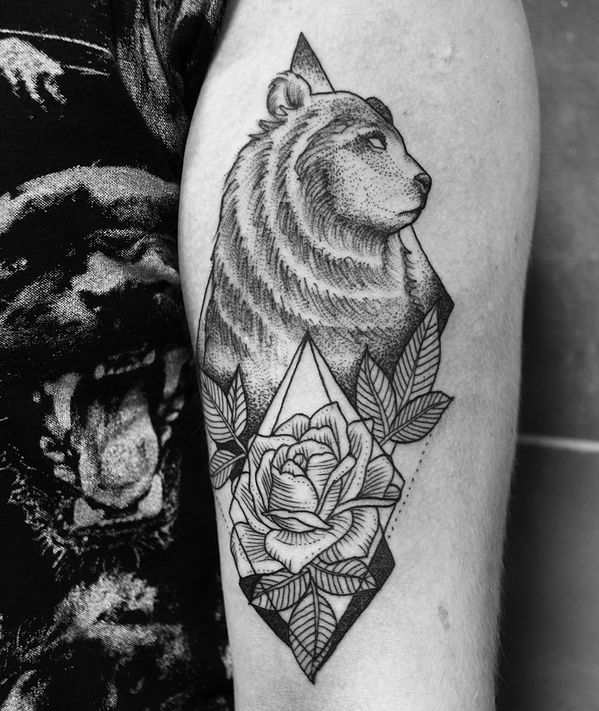 geometric tattoo with bear