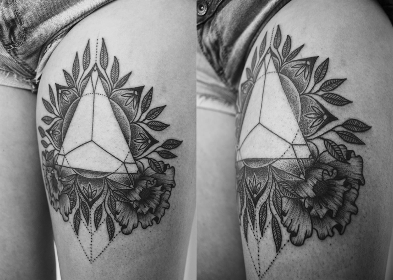 triangle and mandala, blackwork tattoo