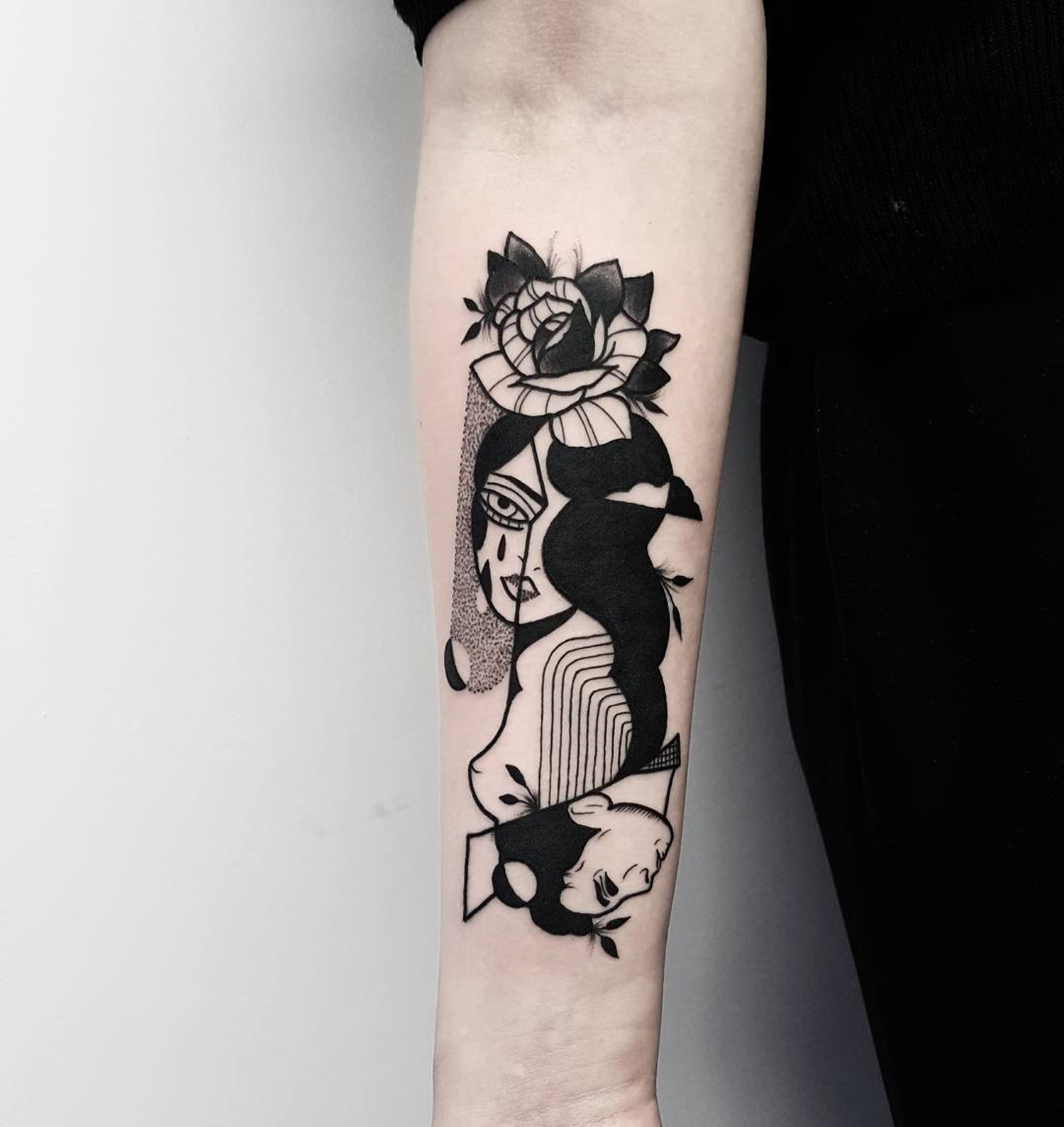 double portrait on arm by matteo nangeroni