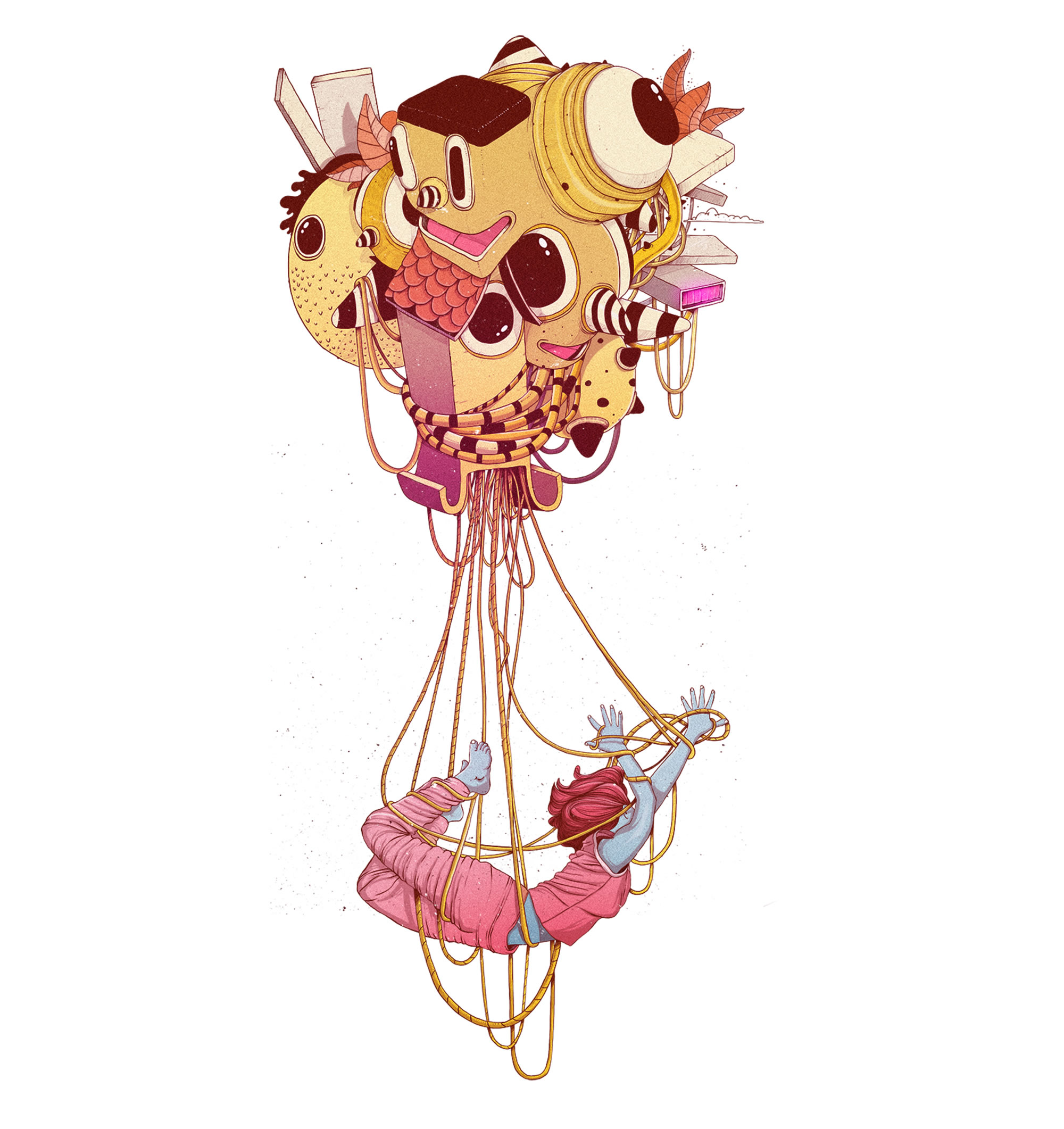 migraine, girl hanging from a balloon of junk