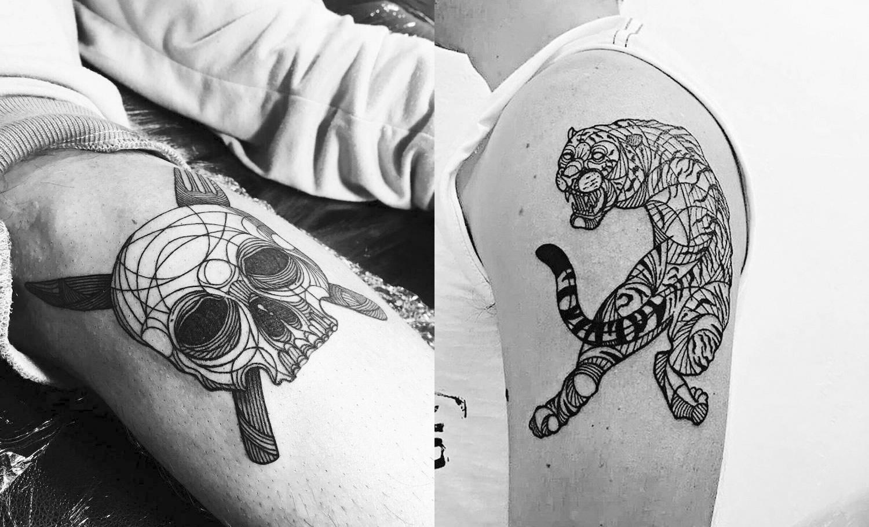 skull and tiger blackwork
