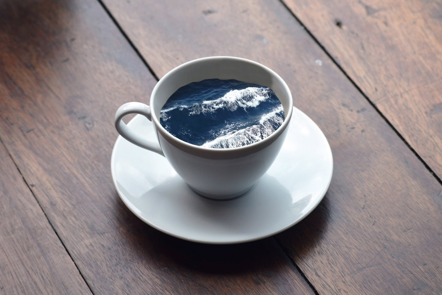 ocean inside a coffee cup, photomontage