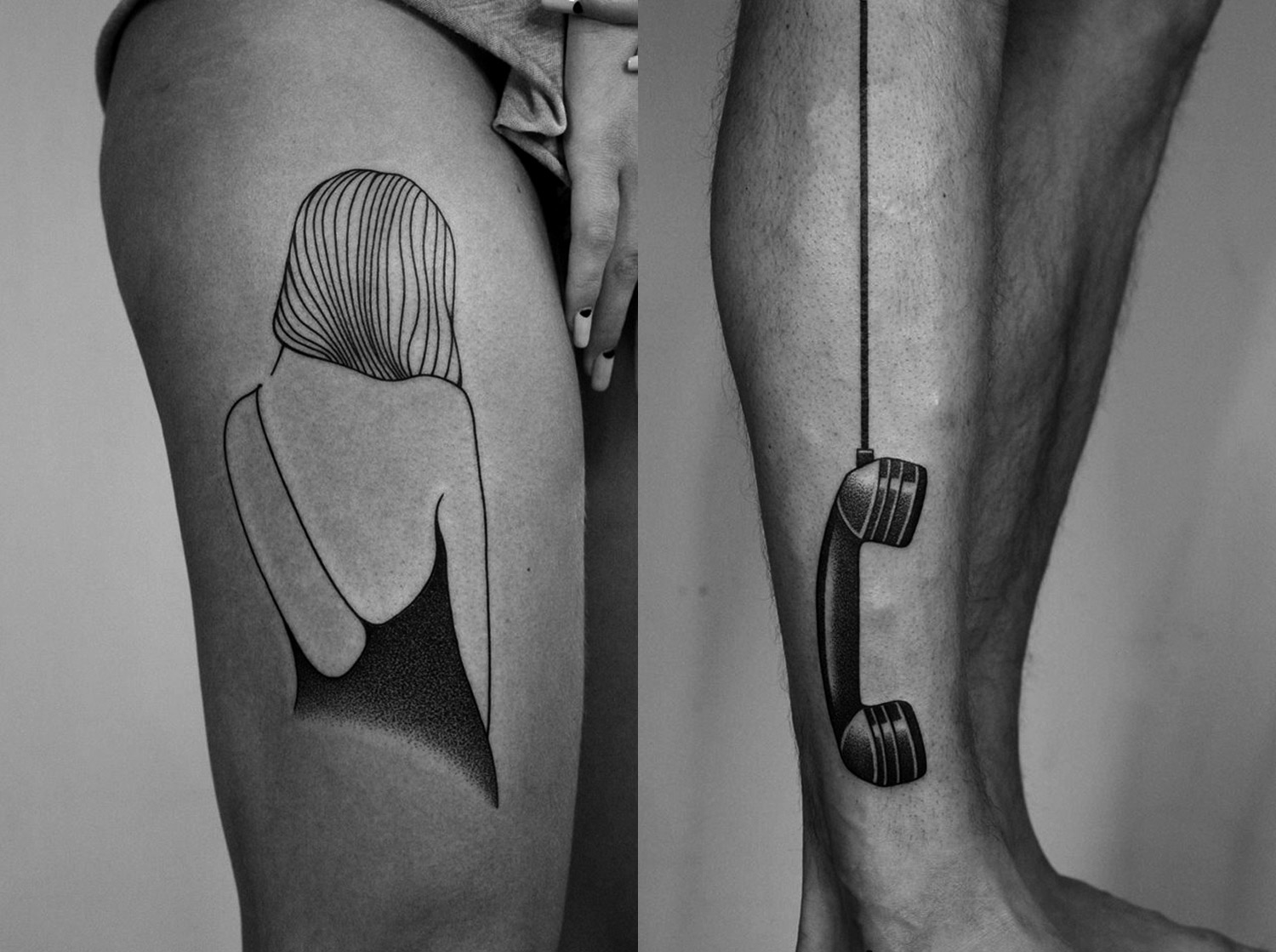 tattoos on legs by ilya brezinski