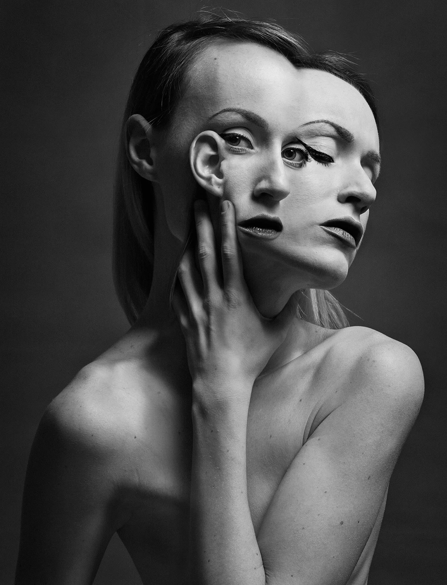 double eye and mouth, portrait of flora borsi