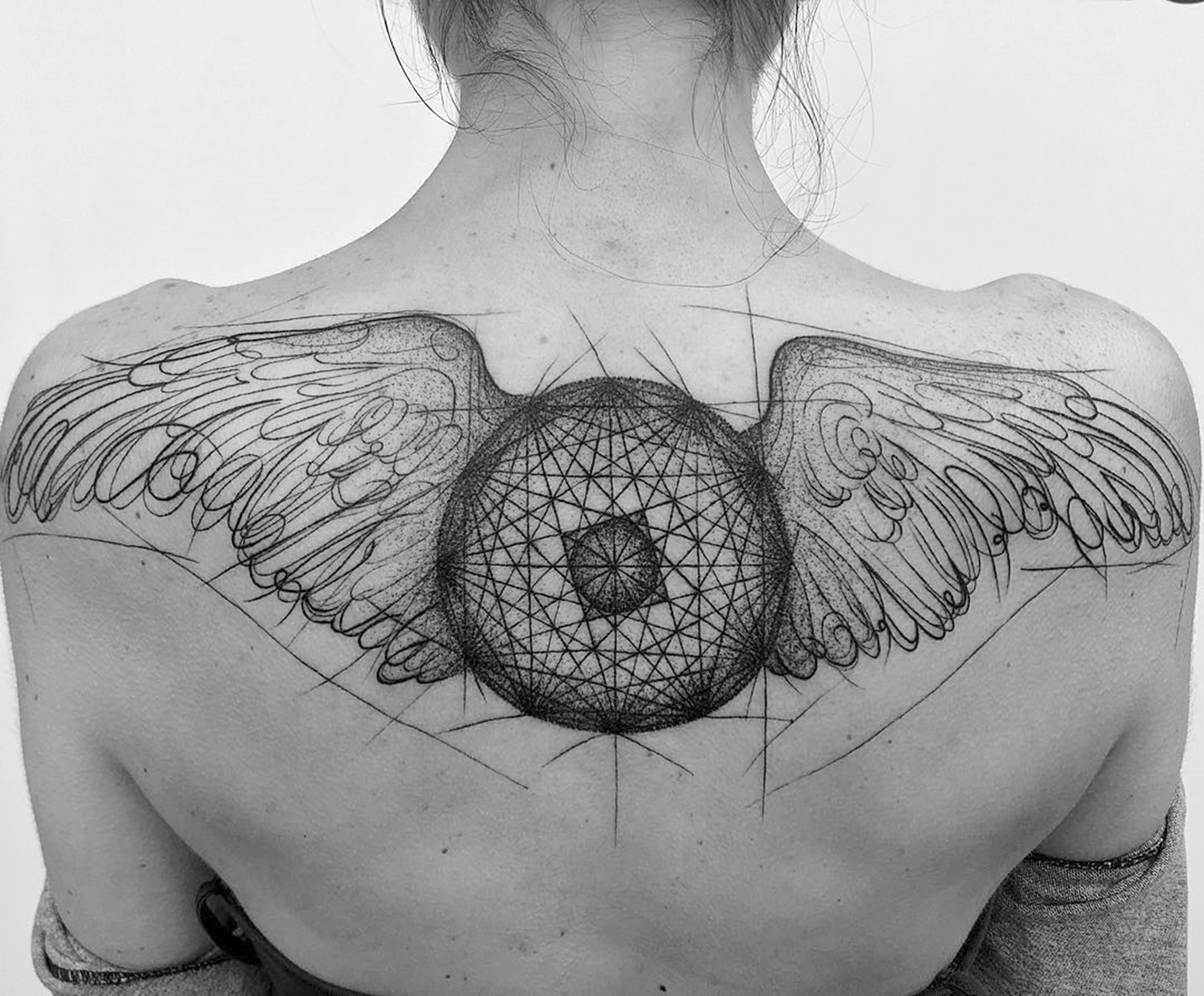 wings, feathers, back piece, tattoo