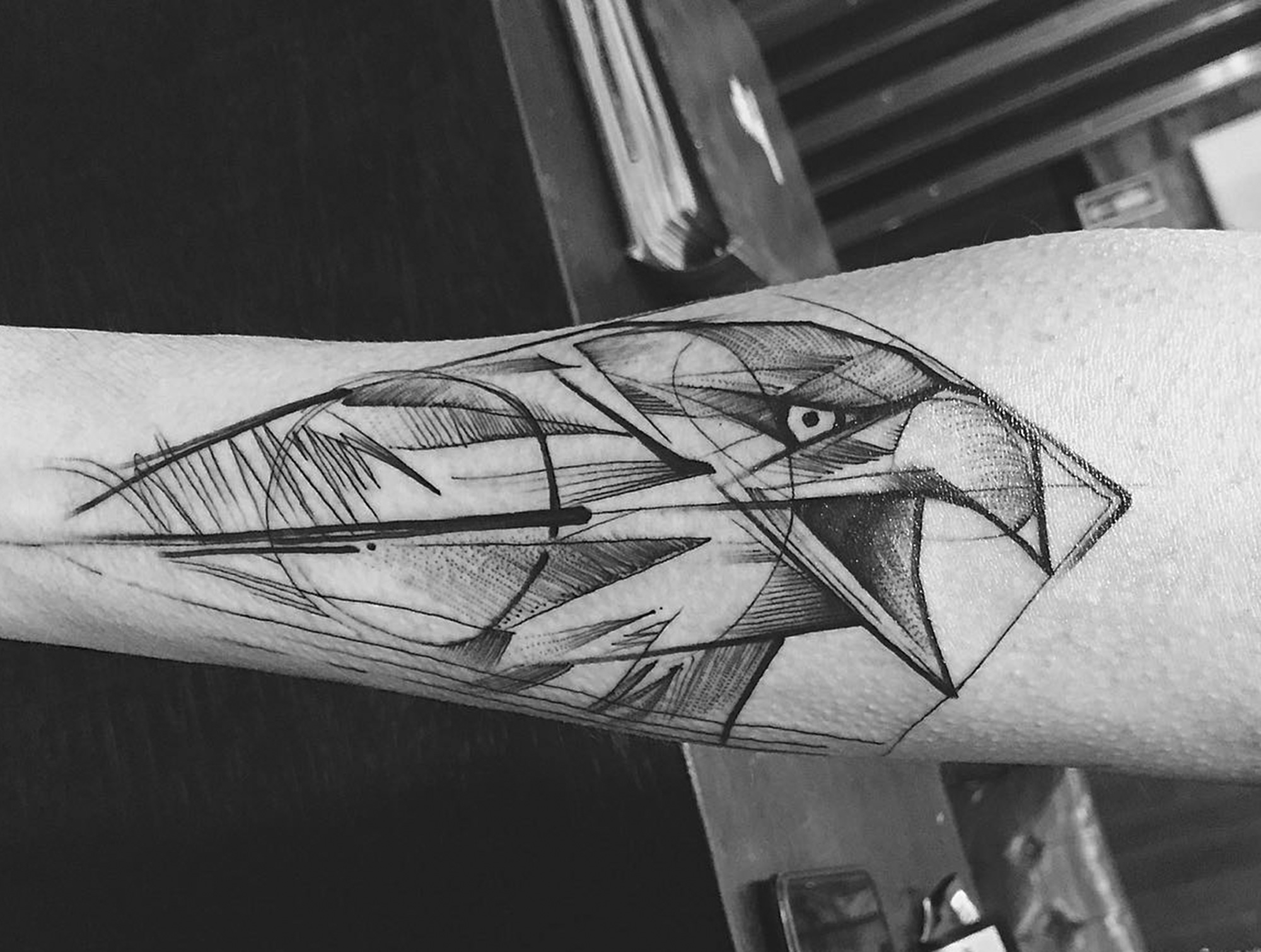 hawk tattoo on arm, linework, black ink