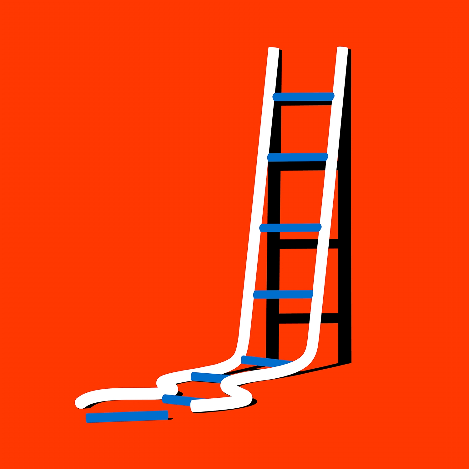 broken ladder, red background, illustration