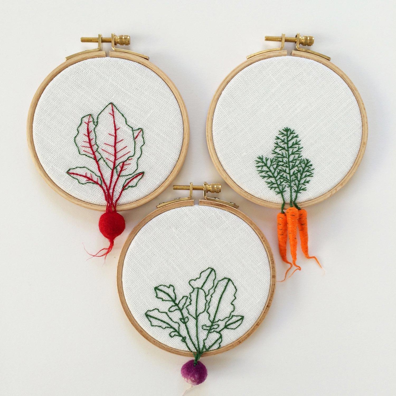vegetables danging outside of embroidery hoop carrot hoop art by veselka bulkan