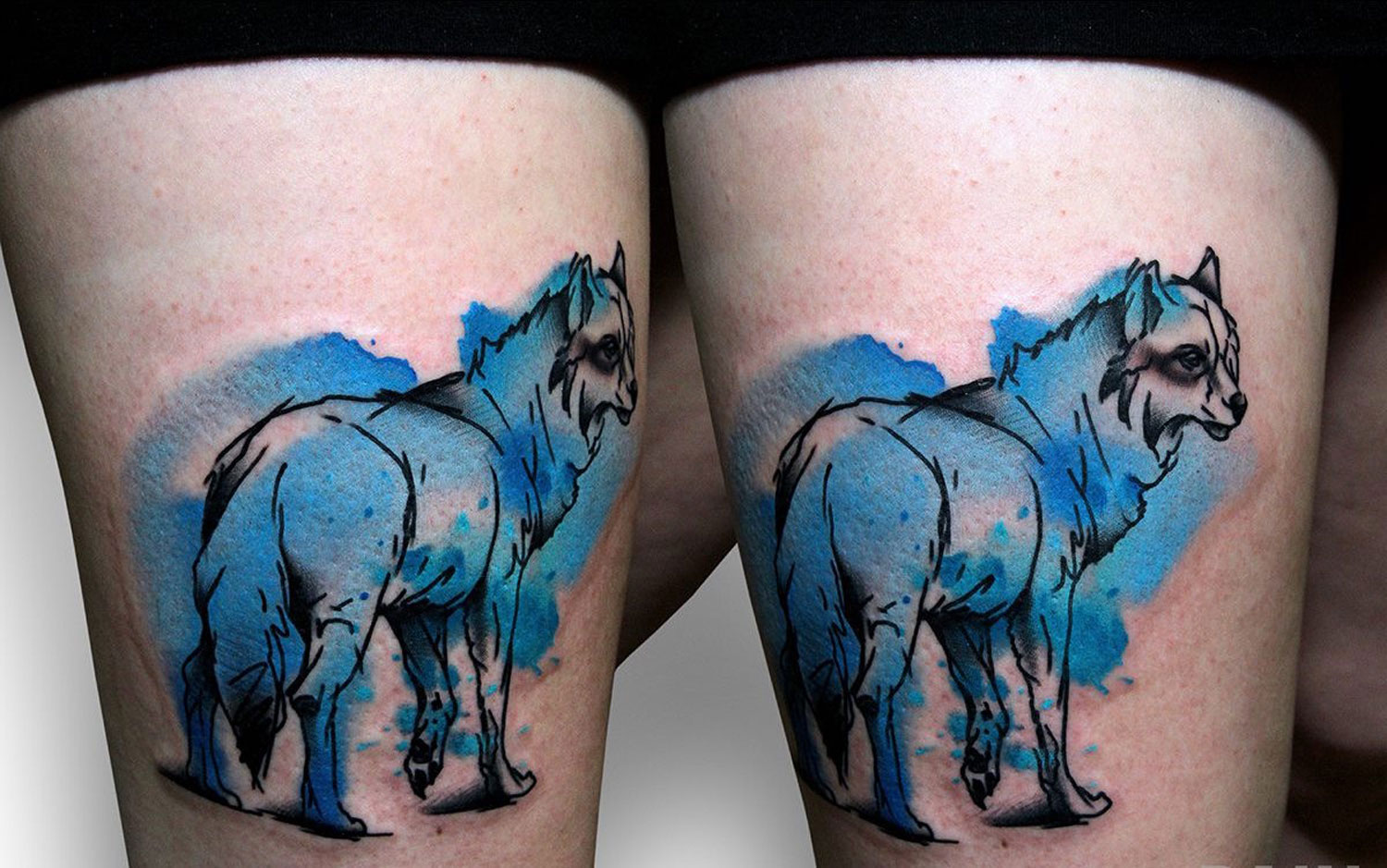 wolve tattoos on thigh by by szymon gdowicz