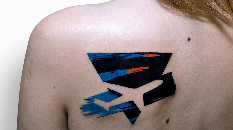 knockout plane tattoo by by szymon gdowicz