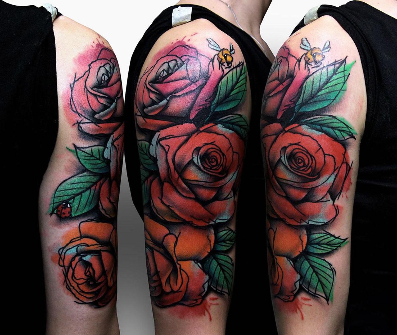 roses along an arm by by szymon gdowicz