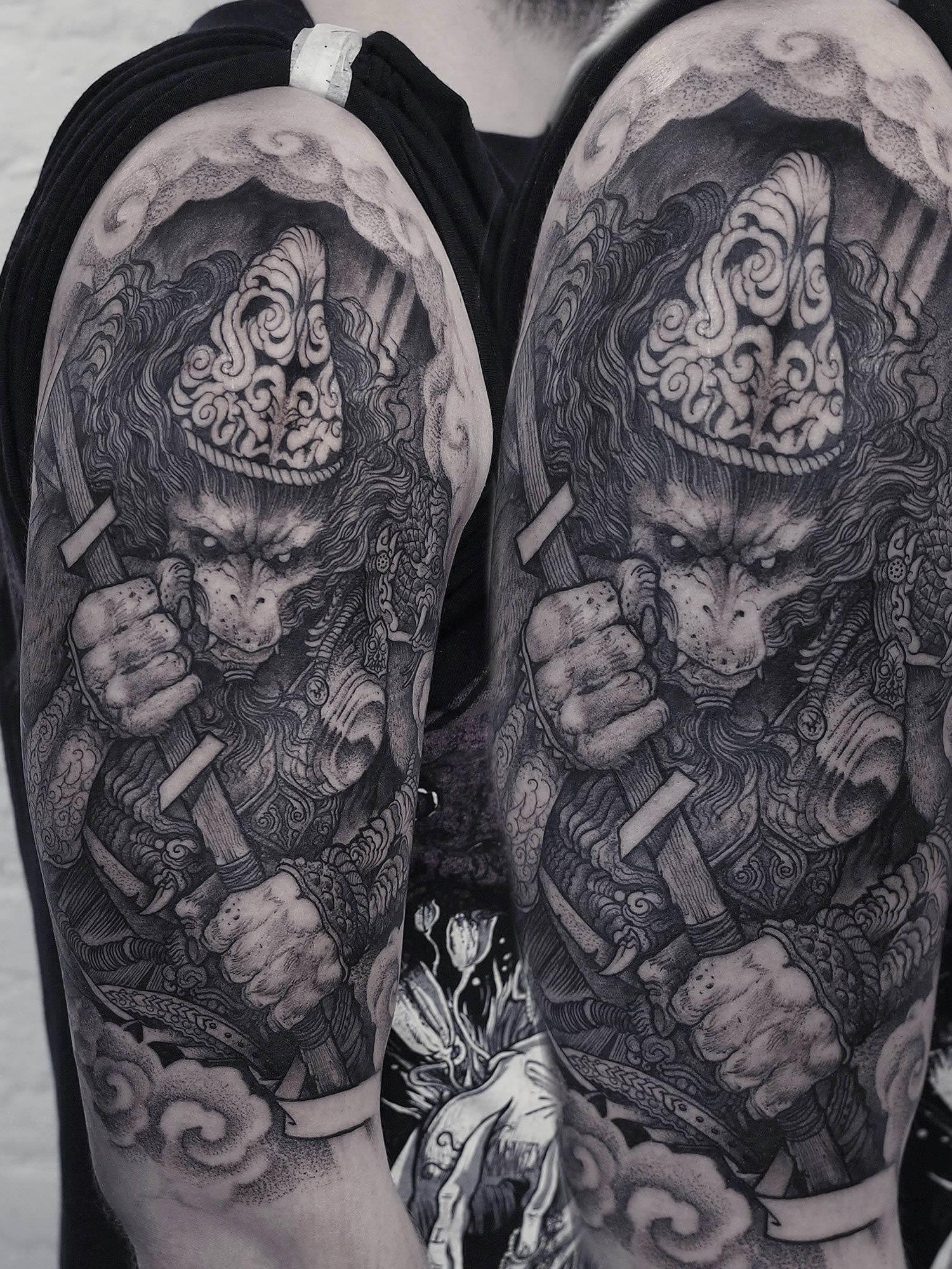 Borbas, Tattoo - skeleton warrior