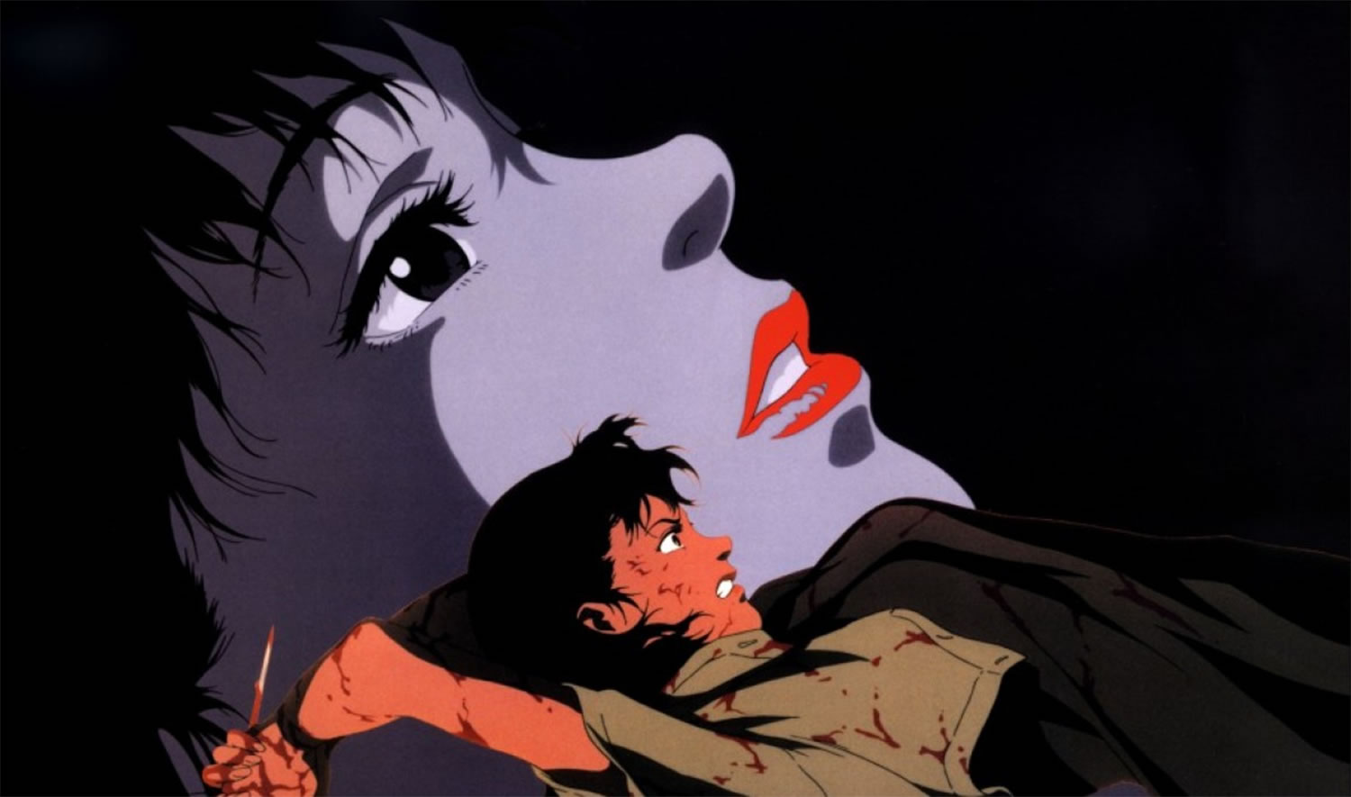 murderer with knife, anime, stalked women in perfect blue