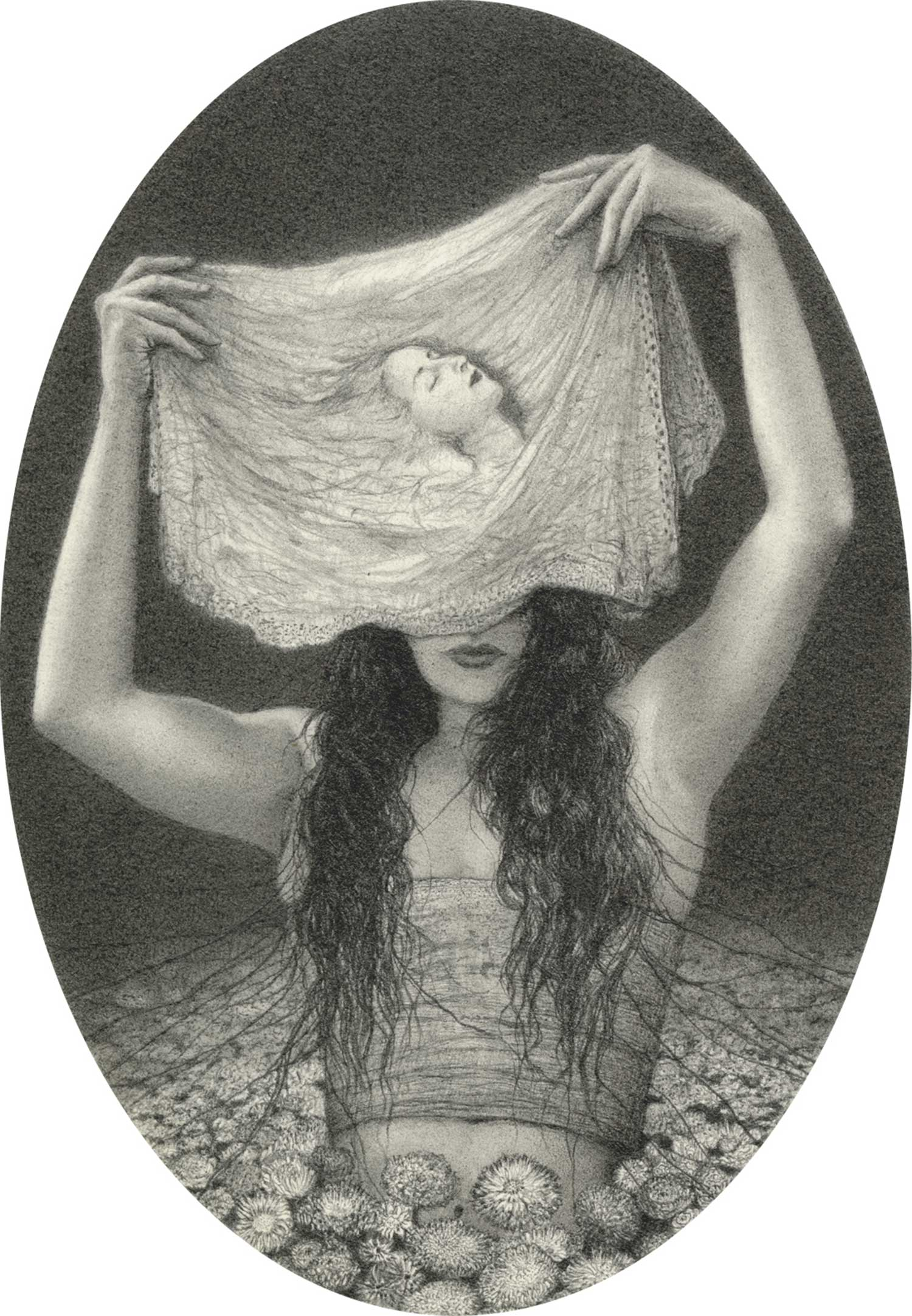 woman with cloth portrait over head by by alejandro garcia restrepo