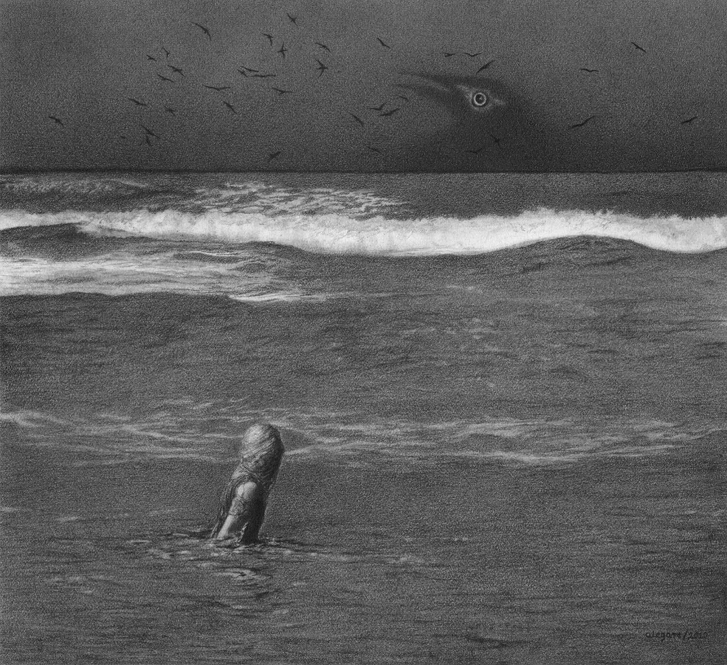 graphite drawing of the sea by alejandro garcia restrepo
