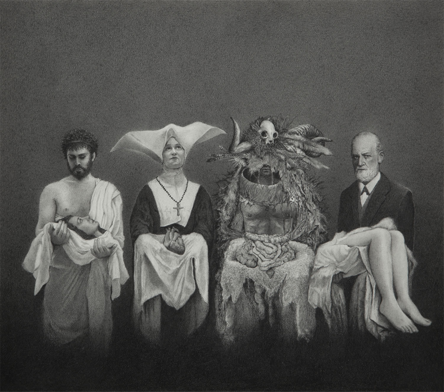 four figures holding innards by alejandro garcia restrepo