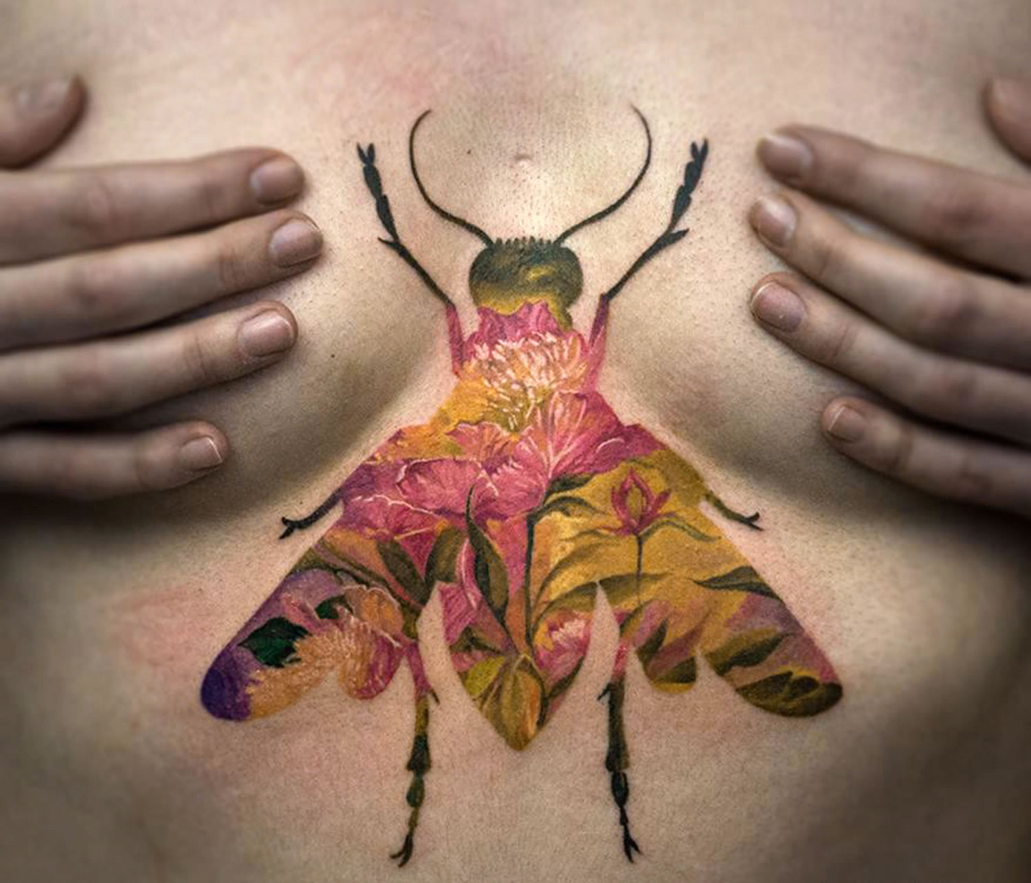 double exposure bug tattoo by andrey lukovnikov