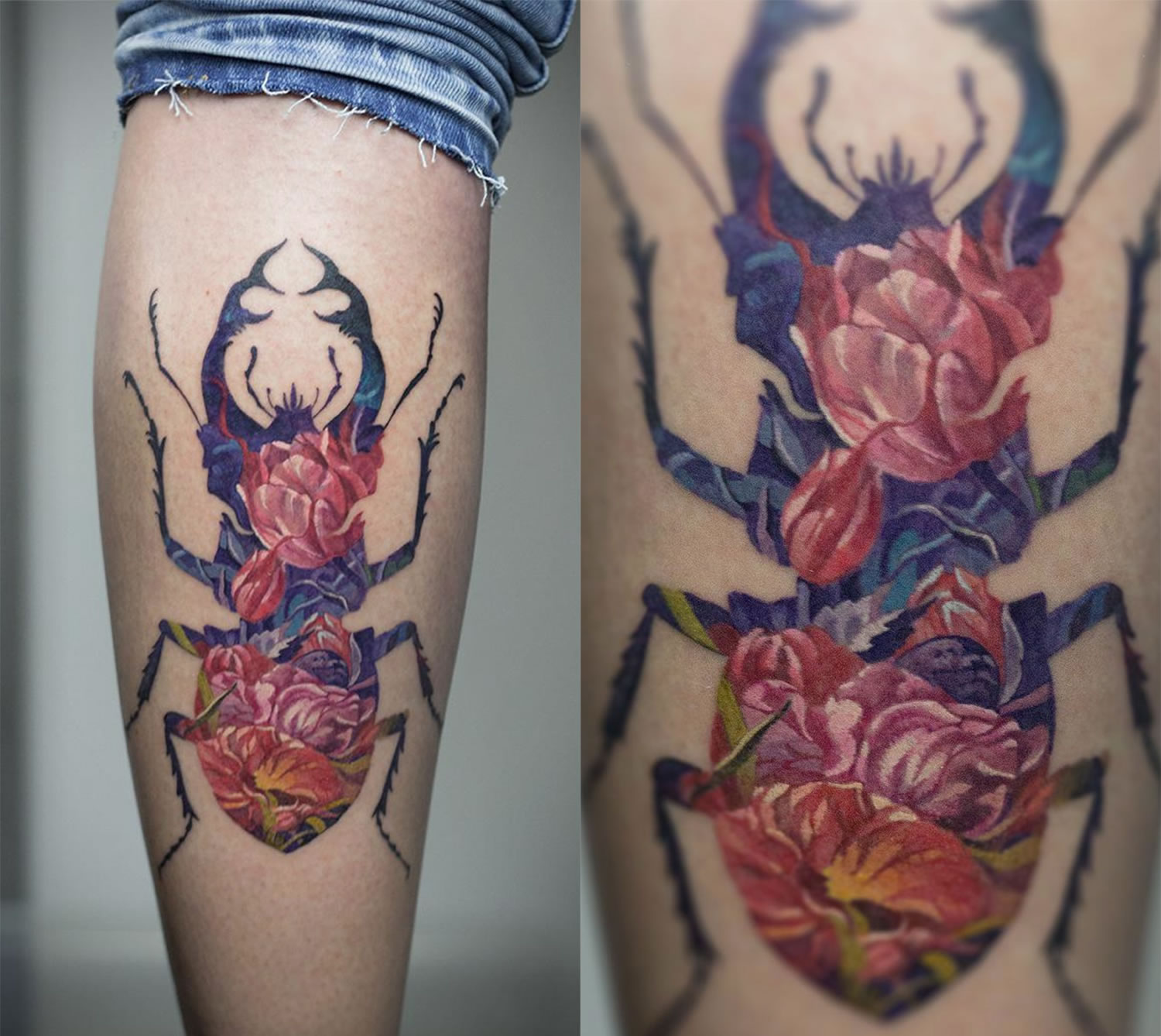 rose beetle, double exposure tattoo