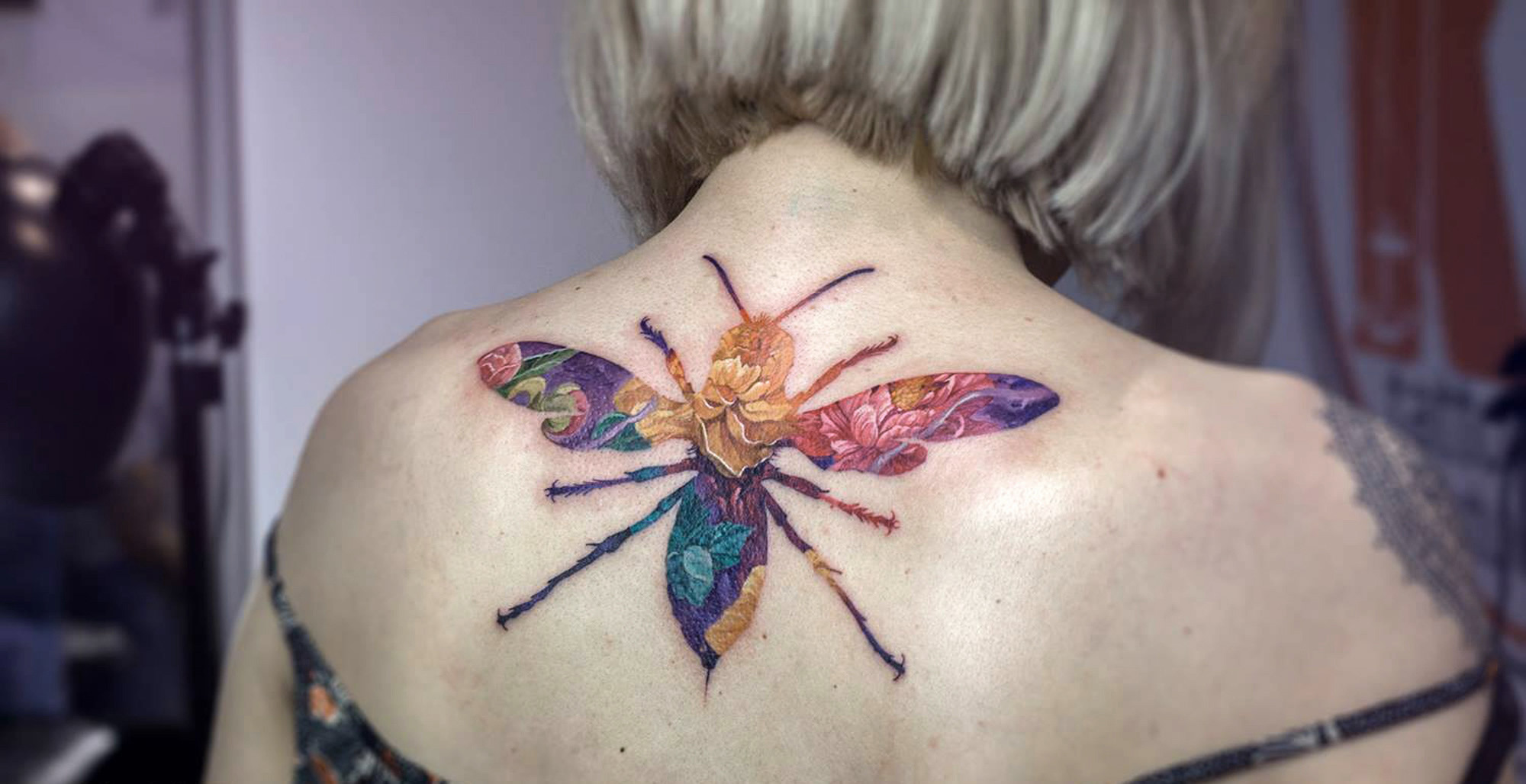 ouble exposure bug tattoo by andrey lukovnikov