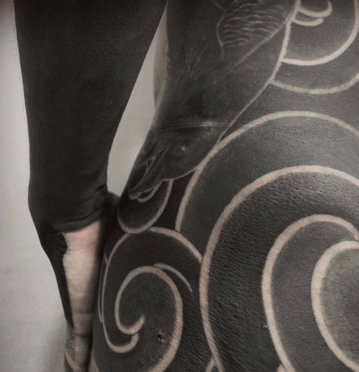 close up of black ink tattoo
