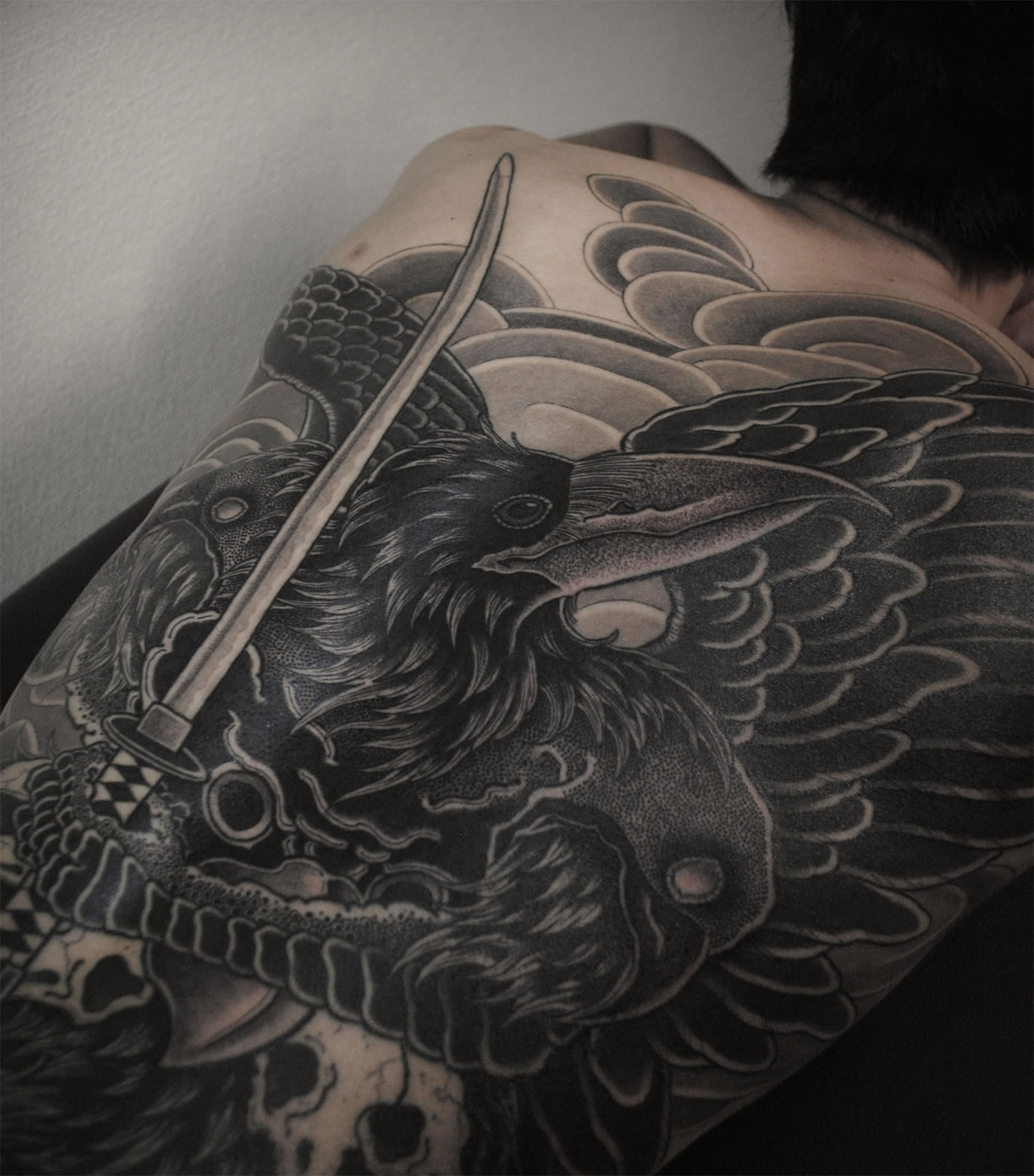 back tattoo, black ink, bird
