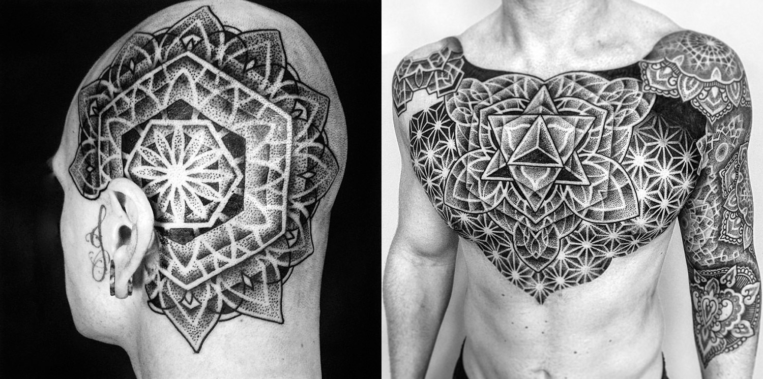 mandala-like tattoos on chest and head by mark nara