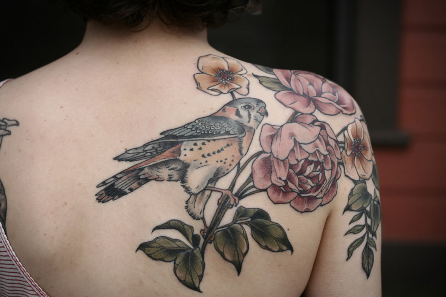 bird and roses tattoo back and shoulder