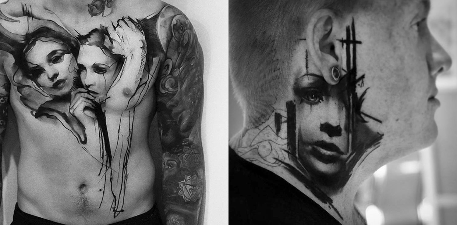 tattooed portrait on chest and neck by kurt staudinger