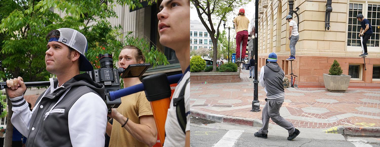 behind the scene, LG ultrawide, Devin super tramp filming pogo athletes