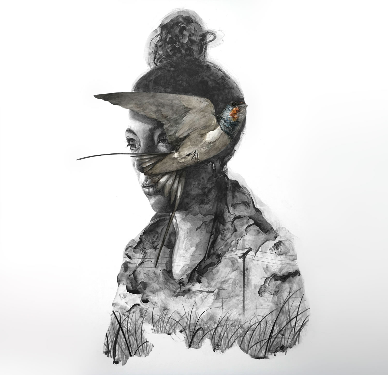 bird on girl's face, pencil portrait