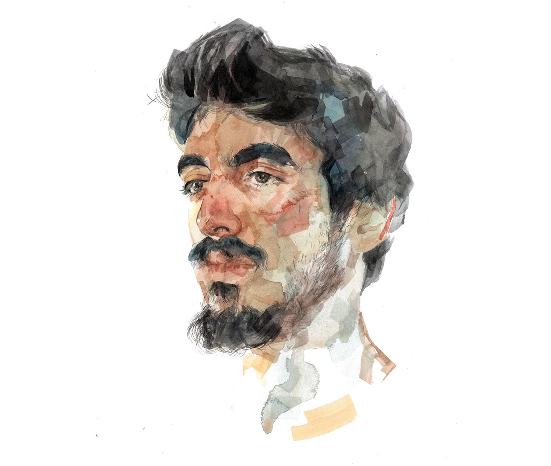 watercolor portrait of a man