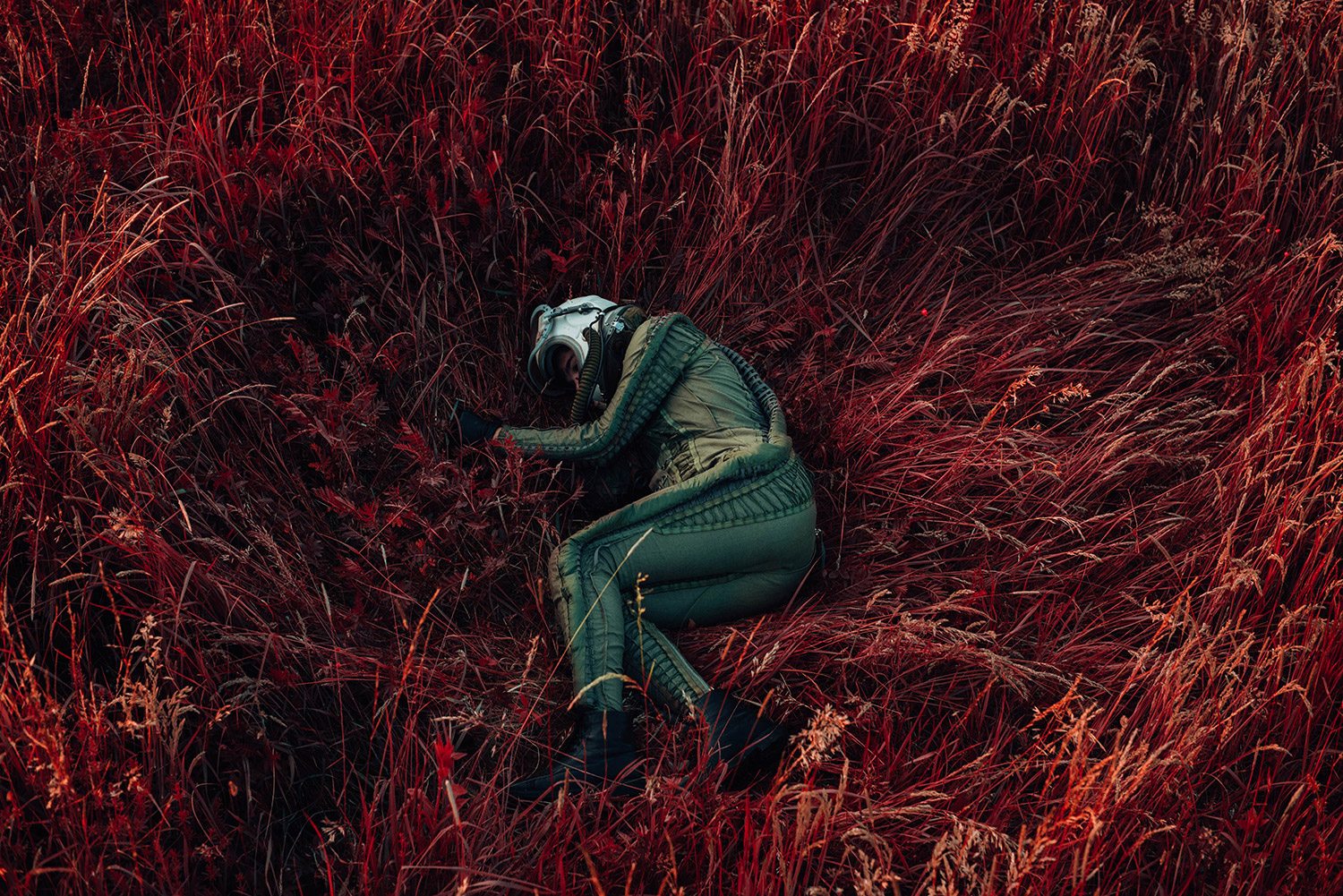 David Schermann, Bigger than Us - lying in red grass