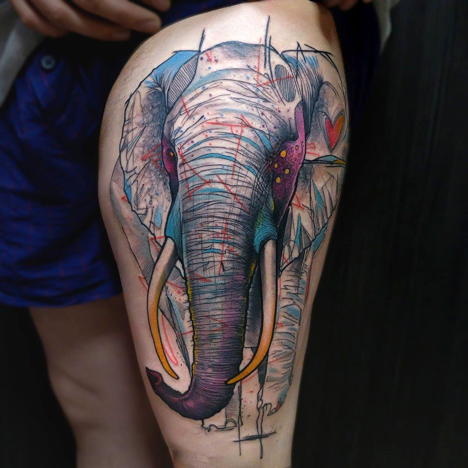 elephant tattoo by elschwino