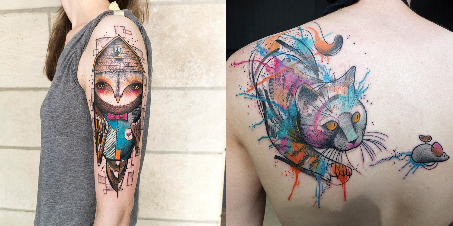bird and cat tattoos by elschwino