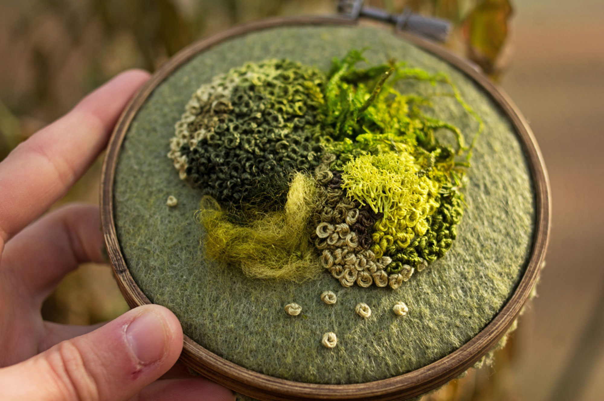Intricate Moss Embroideries Ease Anxiety with Piled Stitches
