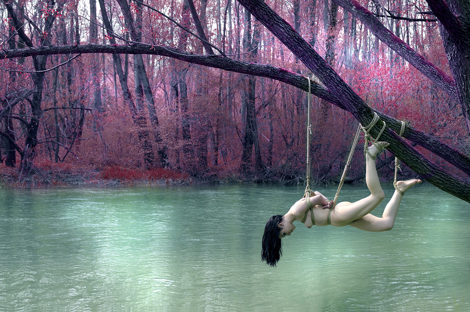 Girls nature bondage