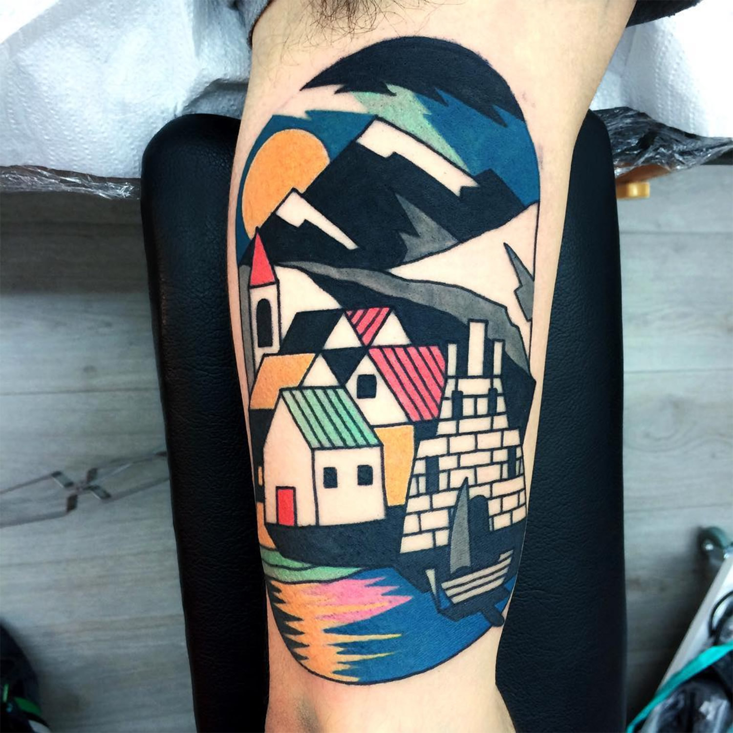 houses, village and mountains, tattoo