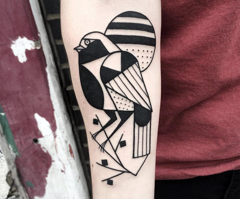 black bird, abstract style tattoo
