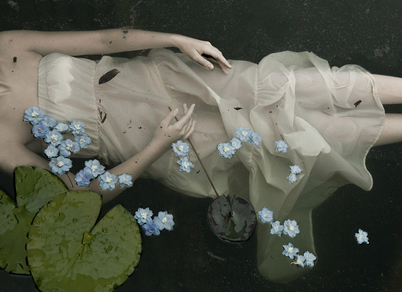 Monia Merlo - in a dark lake - blue flowers