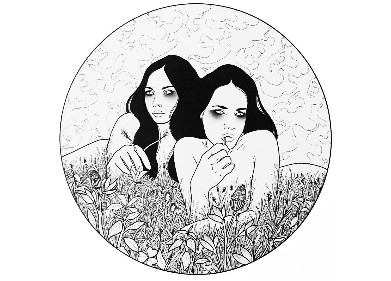 two women in vegetation, erotic art