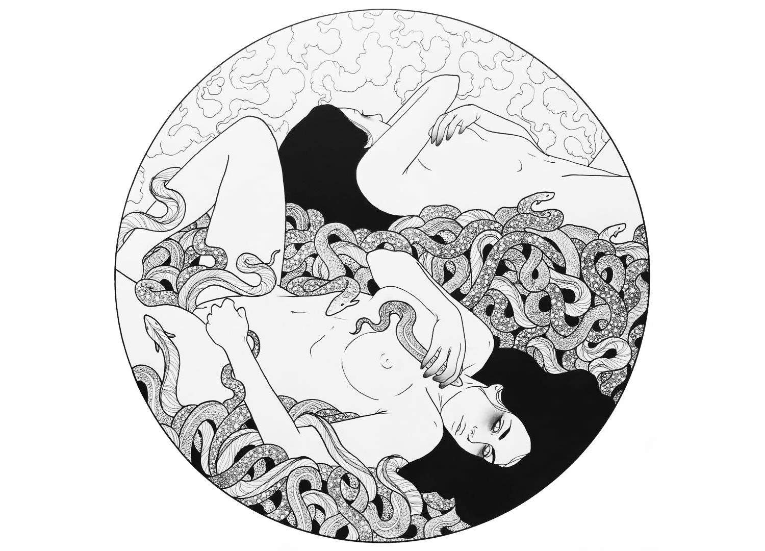 nude women rolling in snakes and plants