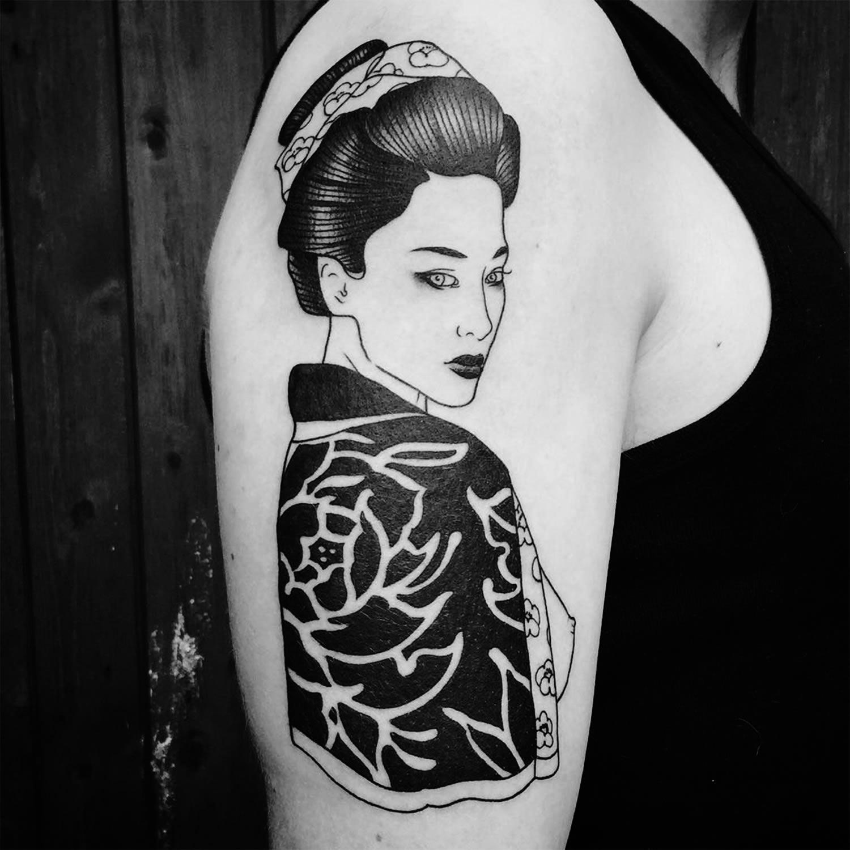 Silly Jane, Tattoo - woman in kimono, black ink tattoo