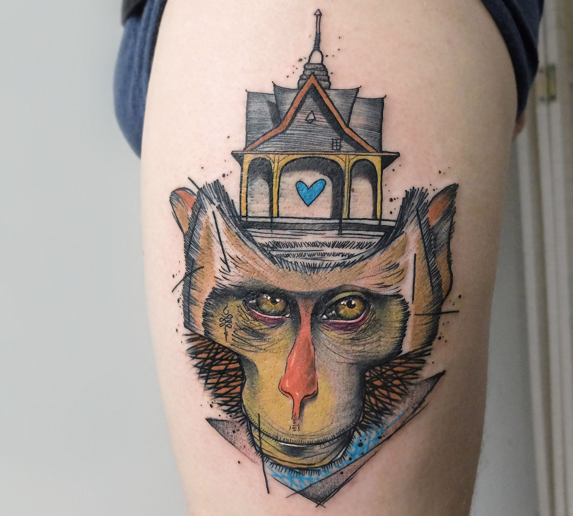 sketch style monkey tattoo on thigh