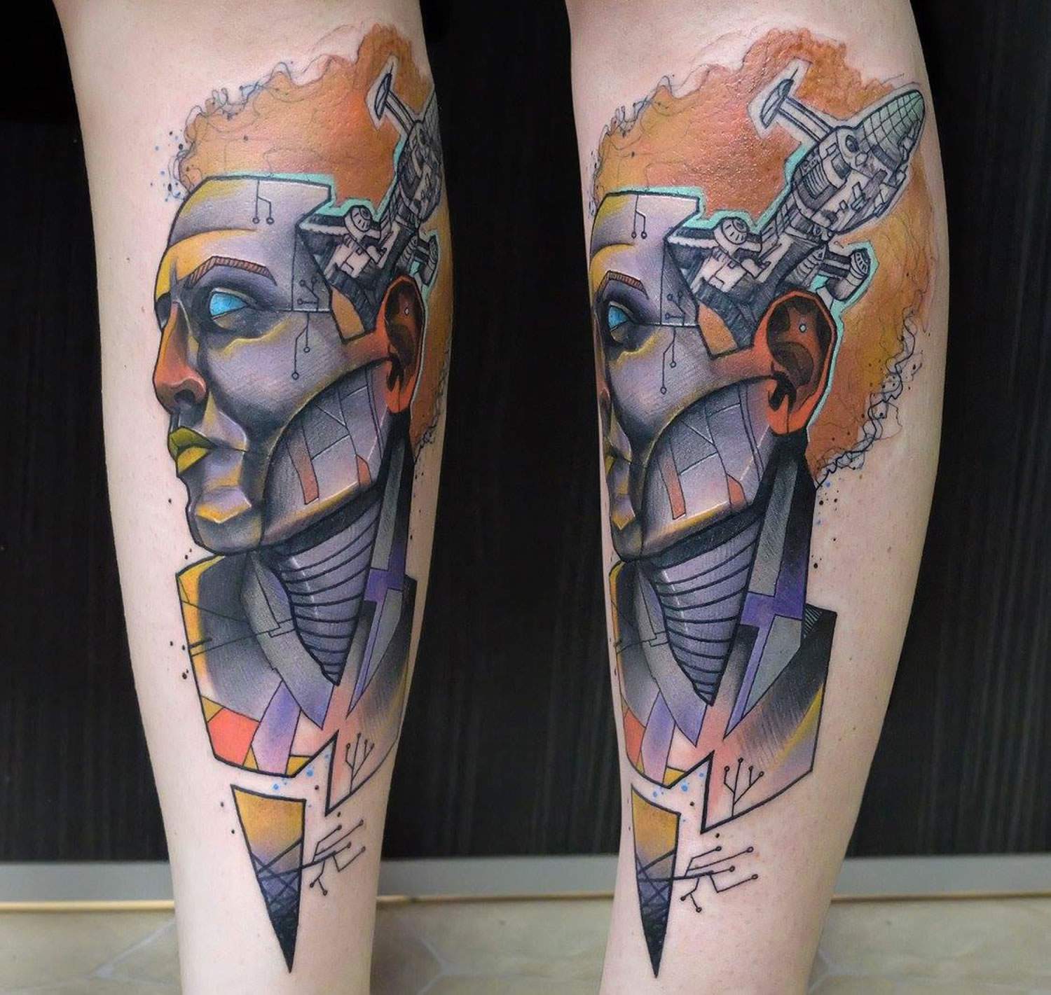 portrait tattoo in two views by elschwino