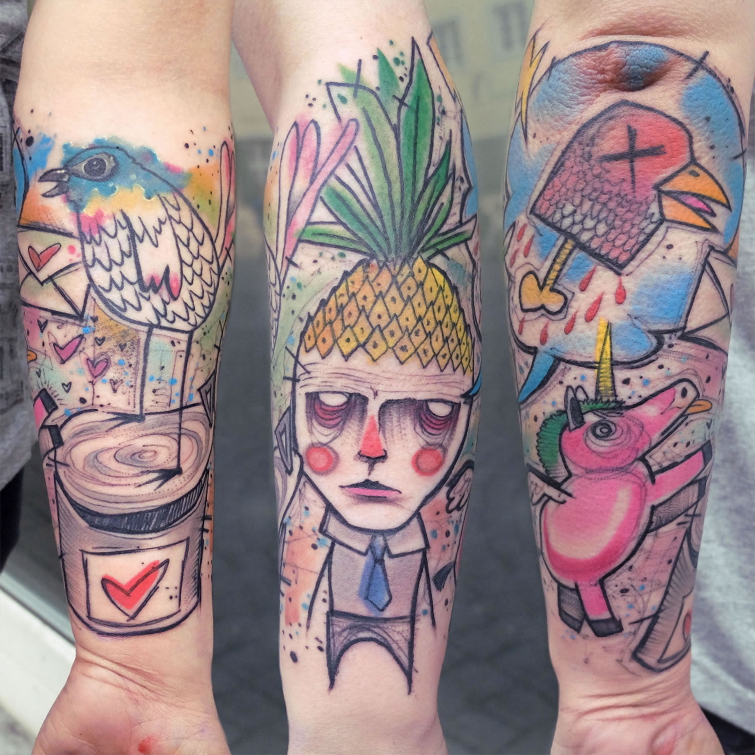 three tattoos on arm by elschwino