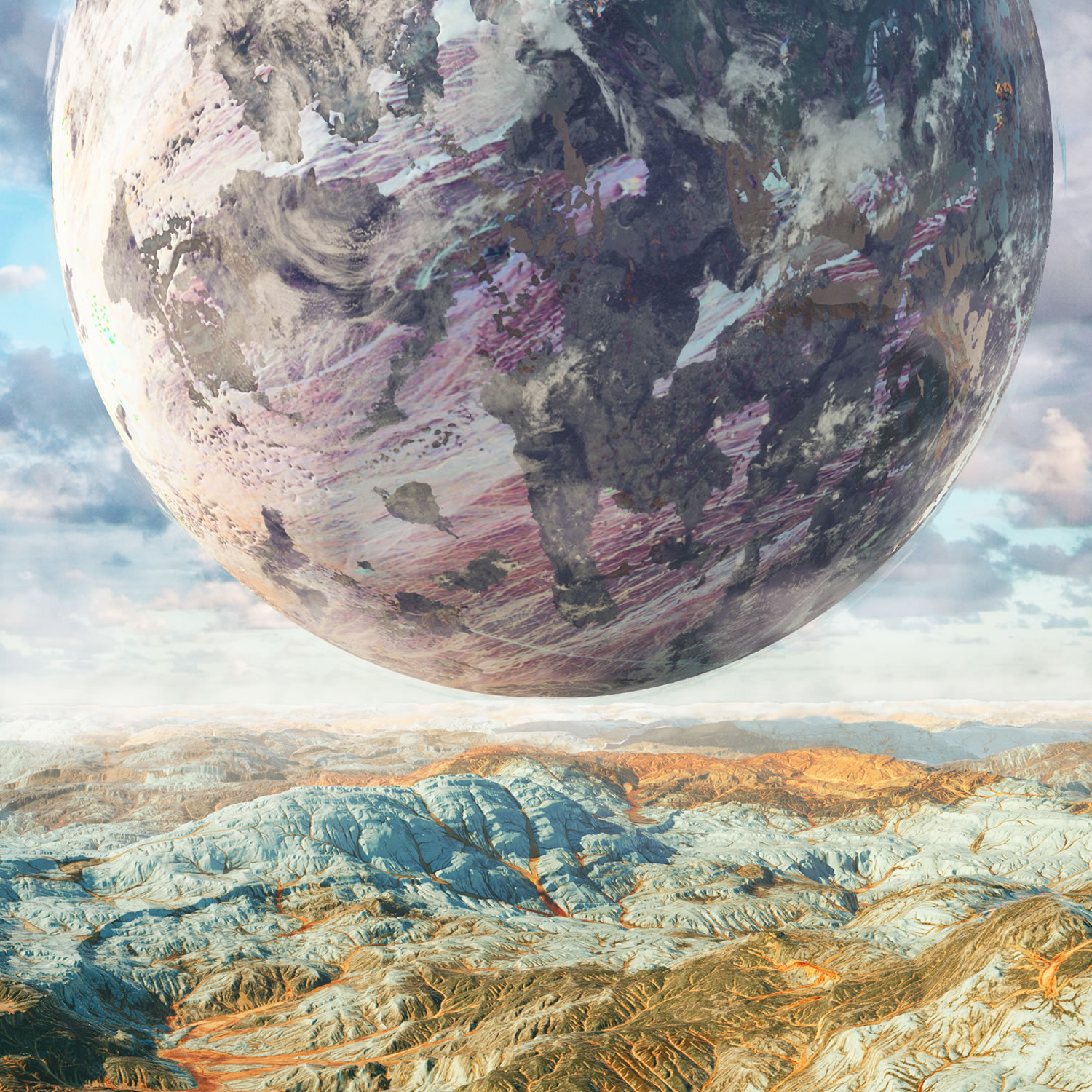 planet floating over mountains, tropos