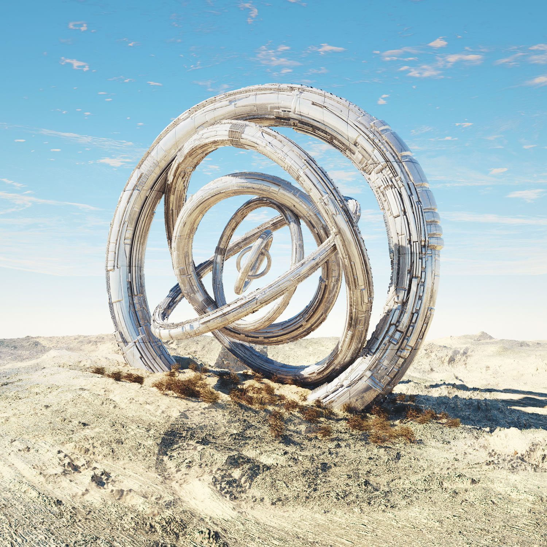 complex 3d circles over landscape, reliq, digital art