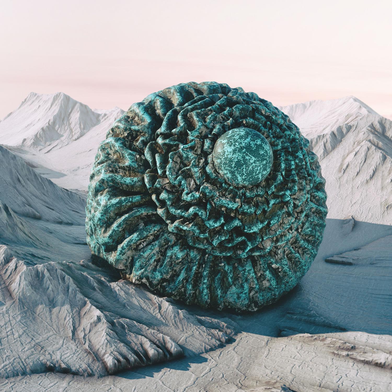 snail shaped ball laying on icy landscape, faunapod