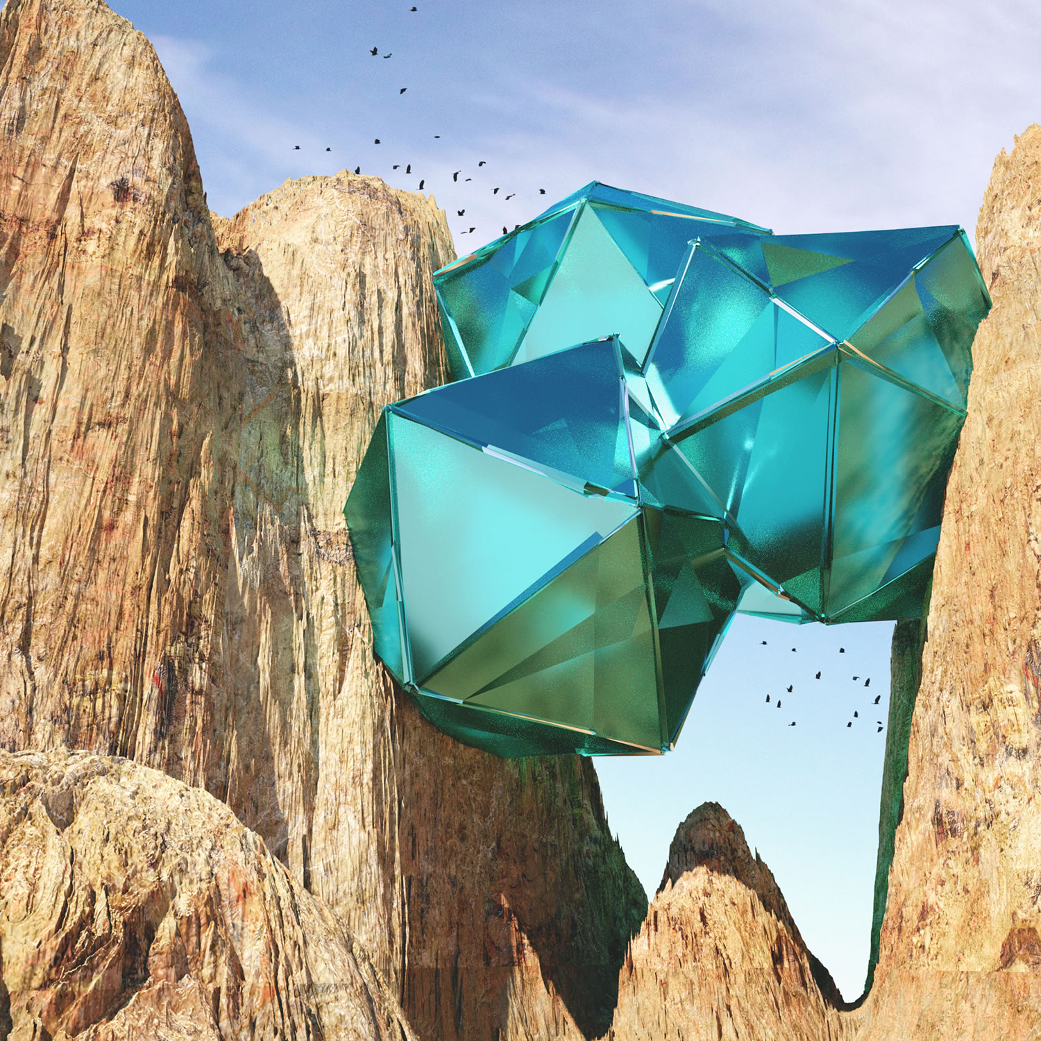 turquoise geometric shapes stuck in rocks, thybony