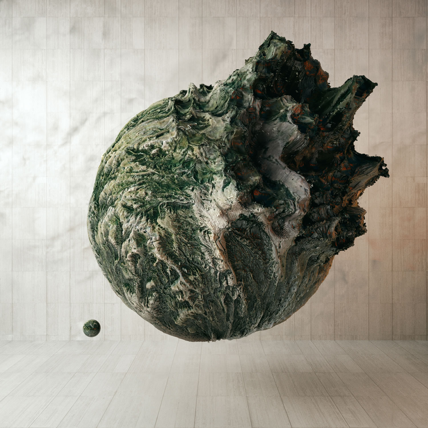 vegetated planet floating on air, outcrop, digital art